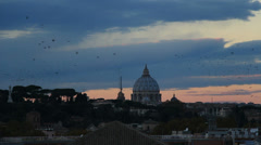 Thousands of starlings over St Peters 4 Stock Footage