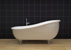 vintage bathtub - stock illustration