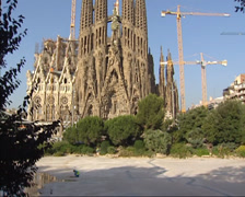 Tilt up nativity facade Sagrada Familia east front under construction Stock Footage