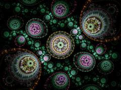 Colorful clockwork pattern, digital fractal art design Stock Illustration