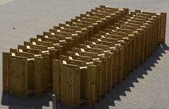 Stack of tables on brighton seafront. england Stock Photos