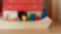 A cute wooden toy noahs ark Stock Footage