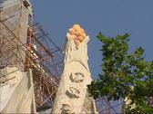Stock Video Footage of pan scaffolding south facade Sagrada Familia under construction