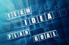 idea, team, plan, goal in blue glass blocks - stock illustration