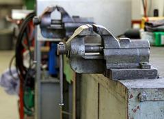 Workbench inside a mechanical workshop Stock Photos