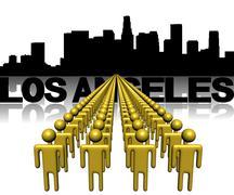 lines of people with los angeles skyline illustration - stock illustration
