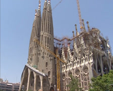 tilt up bell towers west facade or passion facade Sagrada Familia - stock footage