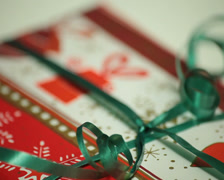 Decorative christmas gift wrapping Stock Footage