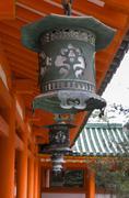 A row of decorative metal lanterns in japan Stock Photos