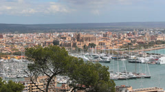 City View - Palma, Mallorca, Spain - Cathedral and marina - 12 Stock Footage