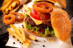 Beef cheeseburger Stock Photos