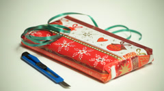 decorative christmas gift wrapping - stock footage