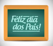 Happy fathers day in portuguese message sign Stock Illustration