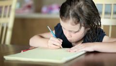 Little Girl Drawing - stock footage