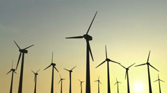 Modern Wind Turbines on Sunrise Stock Footage