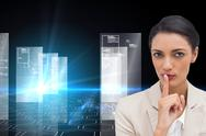 Stock Illustration of Composite image of young businesswoman asking for silence