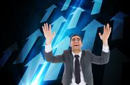 Stock Illustration of Composite image of excited businessman with arms raised