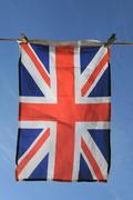 Union Jack Flag Hanging on a Washing Line Stock Photos