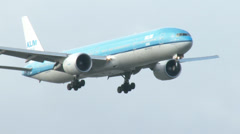 4K Boeing 777 from KLM on approach Stock Footage