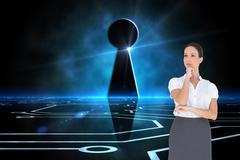 Stock Illustration of Composite image of pensive elegant businesswoman posing