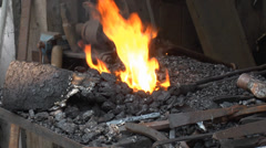 Wrought fire and tools Stock Footage