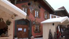 The entrance to the violin making museum in Mittenwald and christmas market Stock Footage