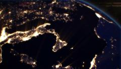 Night Cities from the Satellite. Europe. NASA Photo. HD 1080. Stock Footage