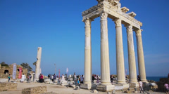 Crowd of tourists near the Temple of Apollo ruins in Side Stock Footage