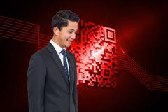 Composite image of smiling asian businessman - stock illustration