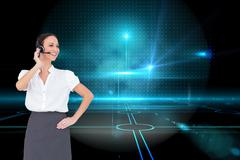 Composite image of cheerful smart call center agent working Stock Illustration