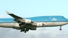 4K KLM Jumbojet landing at Schiphol airport Stock Footage