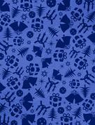 blue christmas symbols on the walls - stock photo