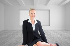 Composite image of young businesswoman sitting on ground - stock illustration