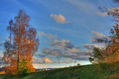 HDR Picture - Aare River Field - stock photo