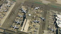 Aerial view of an airport terminal Stock Footage