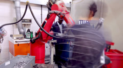 Time lapse modern manufacturing industrial workplace. Busy workers on the shop - stock footage