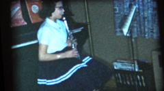 Stock Video Footage of vintage  movies, Clarinet practice