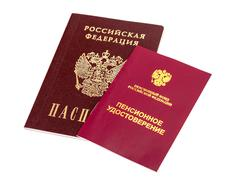 Stock Photo of russian pension certificate and passport isolated on white background