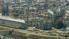 Aerial shot of off oil refinery, Southern California Stock Footage