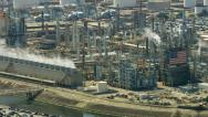 Stock Video Footage of Aerial shot of off oil refinery, Southern California