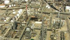 Aerial shot of off oil refinery, Southern California - stock footage