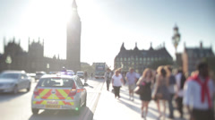 Police car with flashing lights parked at side of road in central London area Stock Footage