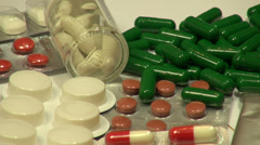 Pills in blisters pack, medicine and pharmacy, pharmaceutical drugs - stock footage