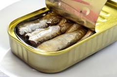 canned sardines - stock photo