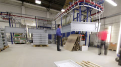Time lapse modern manufacturing industry workplace. Busy workers on the shop - stock footage