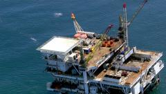 Aerial shot of off shore oil platform Stock Footage
