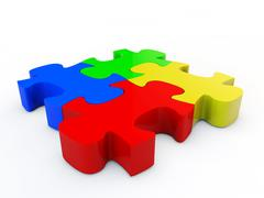 colorfull jigsaw puzzle - stock illustration