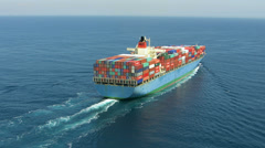 Aerial shot of container ship in ocean Stock Footage