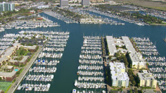 Aerial view of sail boats docked in harbor Stock Footage
