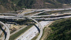 Aerial view of freeway construction, Southern California Stock Footage